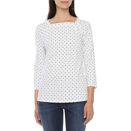 St. John's Bay Womens Square Neck 3/4 Sleeve T-Shirt