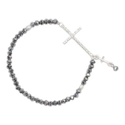 Mixit™ Silver-Tone Bead Cross Stretch Bracelet