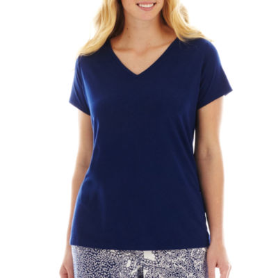 Liz Claiborne® Short-Sleeve V-Neck Sleep Tee - Plus