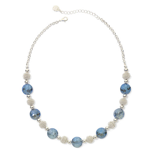 Monet® Blue Stone Silver-Tone Collar Necklace