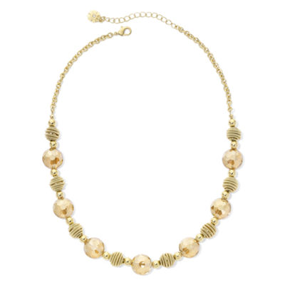 Monet® Yellow Stone Gold-Tone Collar Necklace