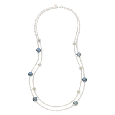 Monet® Blue Stone Silver-Tone Station Necklace