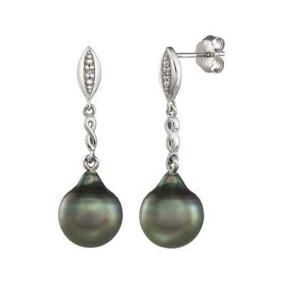 Genuine Tahitian Pearl and Diamond-Accent Sterling Silver Drop Earrings
