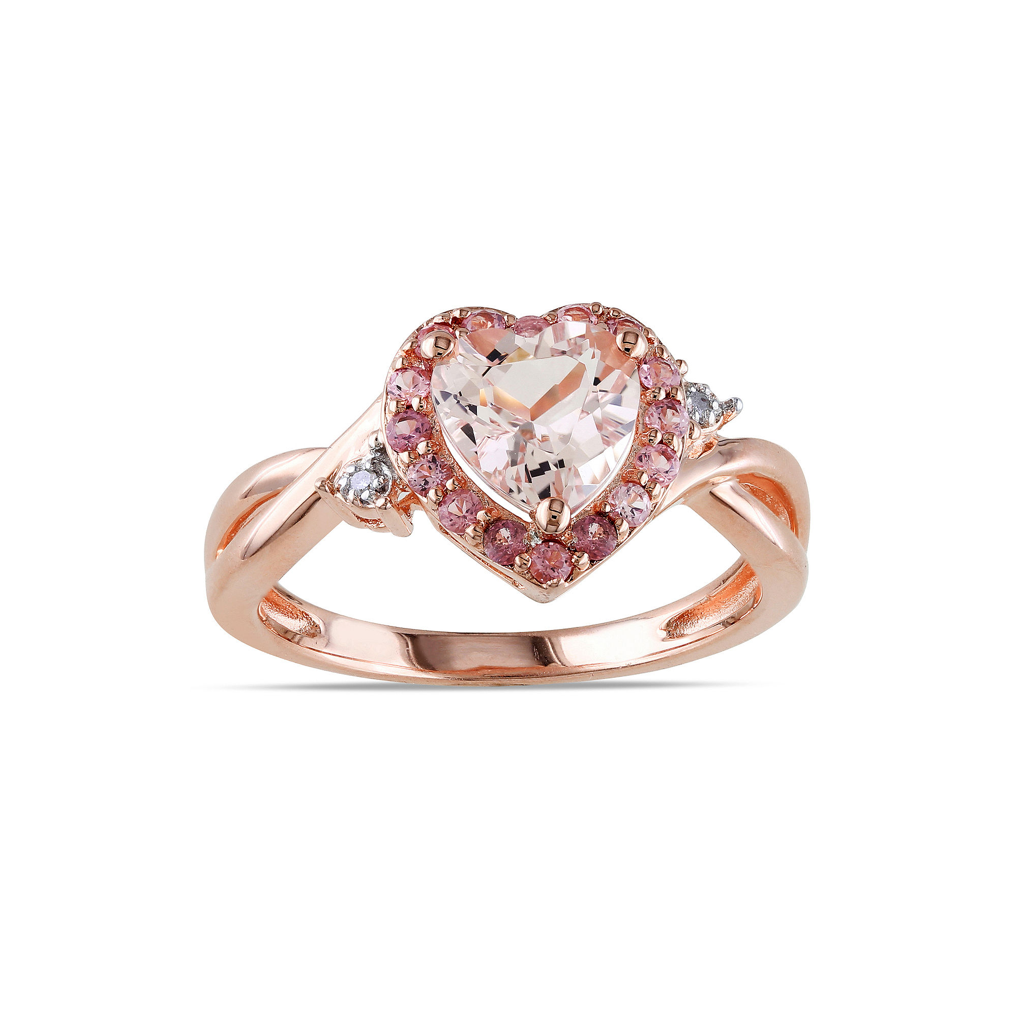 Genuine Morganite, Pink Tourmaline and Diamond-Accent Heart-Shaped Ring