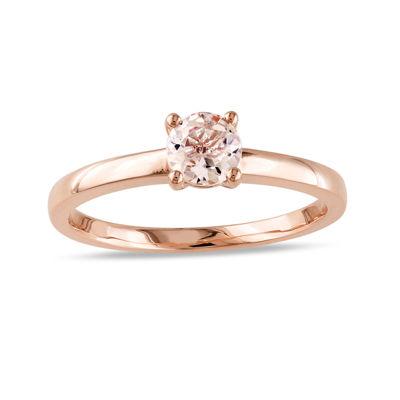 Genuine Morganite 10K Rose Gold Solitaire Ring