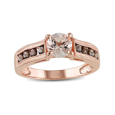 Genuine Morganite and Smoky Quartz 14K Rose Gold Over Sterling Silver Ring