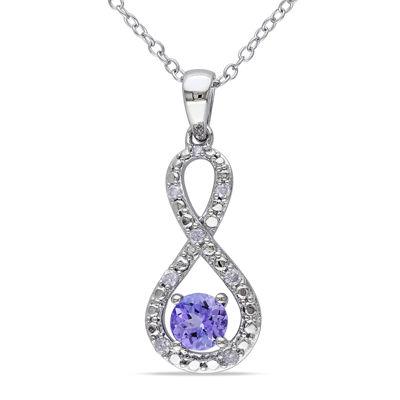 Genuine Tanzanite and Diamond Infinity Pendant Necklace