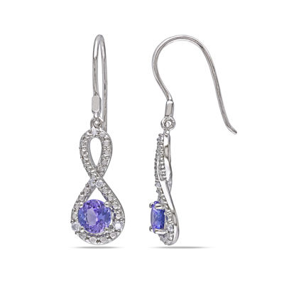 Genuine Tanzanite & Diamond Infinity Earrings