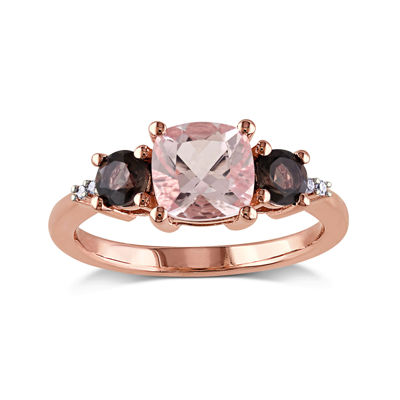Genuine Morganite, Smokey Quartz and Diamond-Accent 3-Stone Ring