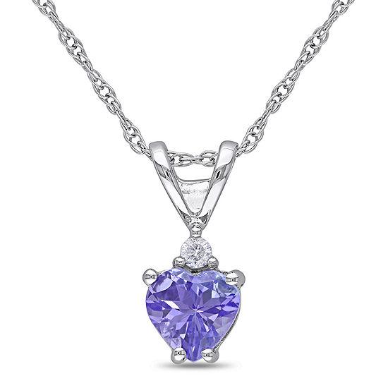Genuine Tanzanite & Diamond-Accent 10K White Gold Heart Pendant Necklace