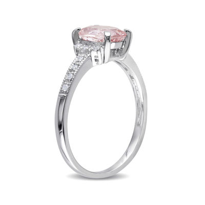 Genuine Morganite and Diamond-Accent Sterling Silver Ring