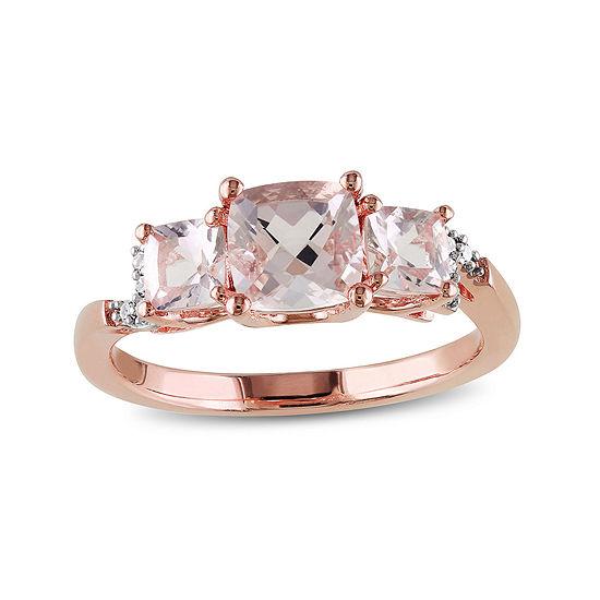 Genuine Morganite and Diamond-Accent 3-Stone Ring