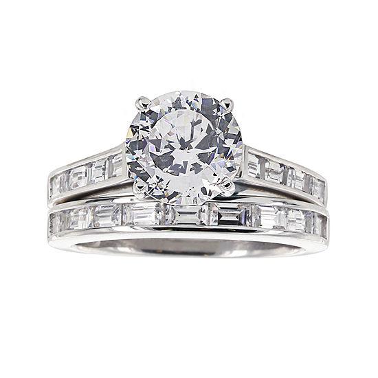 DiamonArt® Cubic Zirconia Sterling Silver Baguette Bridal Ring Set