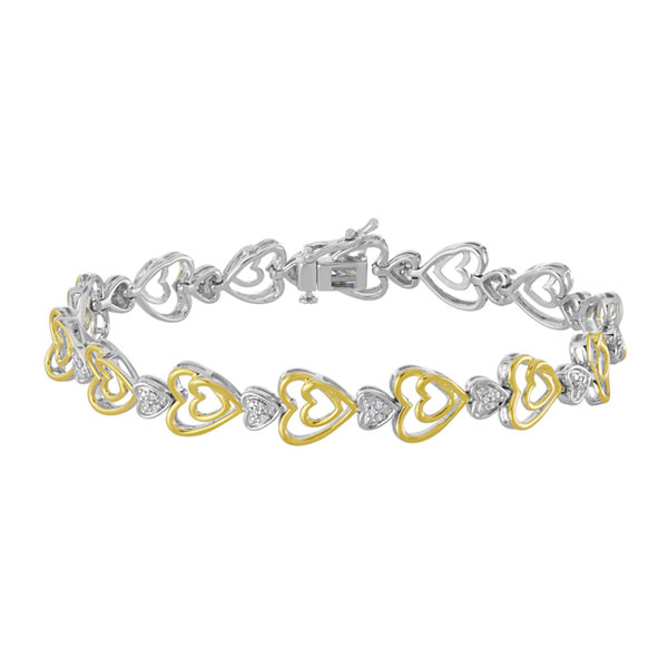 Fine Jewelry 1/10 CT. T.W. Diamond 14K Yellow Gold Over Sterling Silver Link Bracelet VBpVQbe7