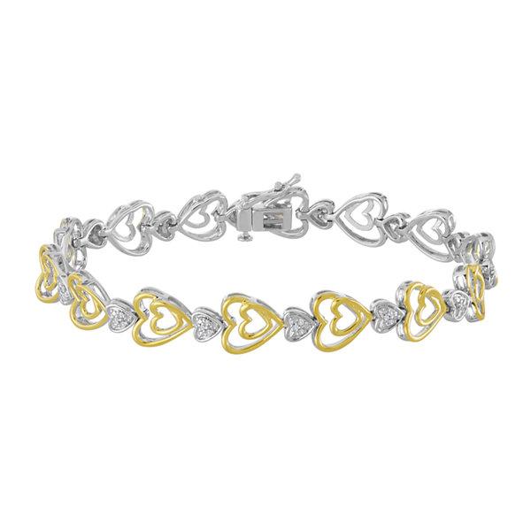 Fine Jewelry 1/10 CT. T.W. Diamond Bracelet In 14K Yellow Gold Over Silver wouIps5lFF
