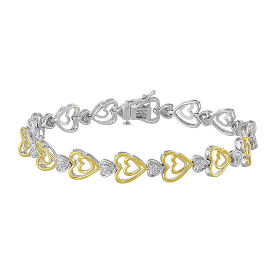 ForeverMine® 1/10 CTTW Diamond 14K Yellow Gold/Sterling Silver Heart Bracelet