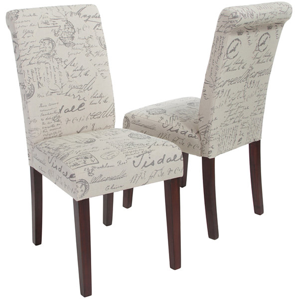 Edeline Set of 2 French Script Parsons Dining Chairs