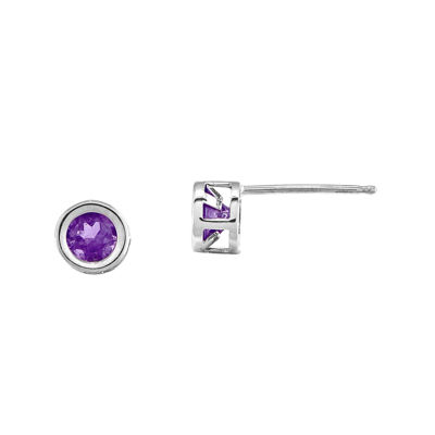 Genuine Purple Amethyst 14K White Gold Stud Earrings