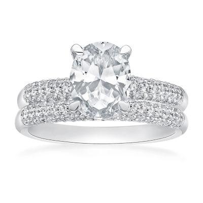 Modern Bride Gemstone Womens Lab Created White Sapphire Sterling Silver Bridal Set