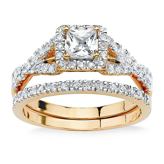 DiamonArt® Womens 1 CT. T.W. White Cubic Zirconia 18K Gold Over Silver Square Bridal Set