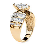 Diamonart Womens 3 3/4 CT. T.W. White Cubic Zirconia 14K Gold Over Silver Engagement Ring