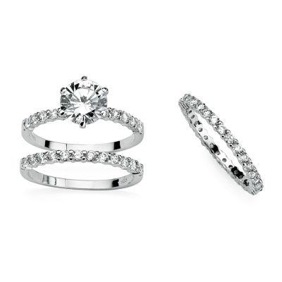 Diamonart Womens 3 3/4 CT. T.W. White Cubic Zirconia Platinum Over Silver Round Bridal Set