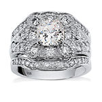 Diamonart Womens 2 1/3 CT. T.W. White Cubic Zirconia Platinum Over Silver Square Bridal Set