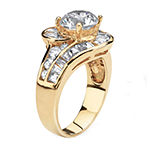Diamonart Womens 4 3/4 CT. T.W. White Cubic Zirconia 14K Gold Over Silver Round Engagement Ring