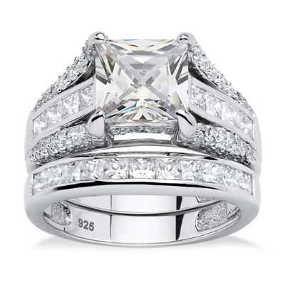 Diamonart Womens 3 1/4 CT. T.W. White Cubic Zirconia Platinum Over Silver Square Bridal Set