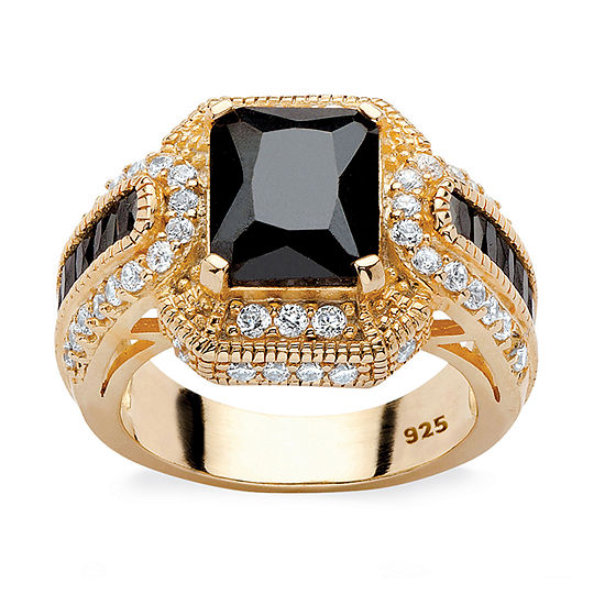 DiamonArt® Womens 5 3/4 CT. T.W. Black Cubic Zirconia 14K Gold Over Silver Rectangular Engagement Ring