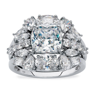 Diamonart Womens 2 CT. T.W. White Cubic Zirconia Platinum Over Silver Square Bridal Set