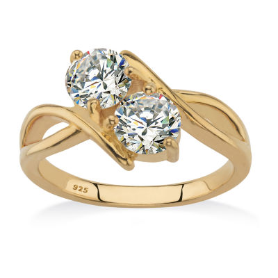 Diamonart Womens 5 1/4 CT. T.W. White Cubic Zirconia 14K Gold Over Silver Round Cocktail Ring
