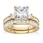 Diamonart Womens 4 1/4 CT. T.W. White Cubic Zirconia 14K Gold Over Silver Square Bridal Set