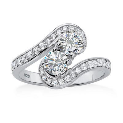 Diamonart Womens 1 3/8 CT. T.W. White Cubic Zirconia Platinum Over Silver Round Cocktail Ring
