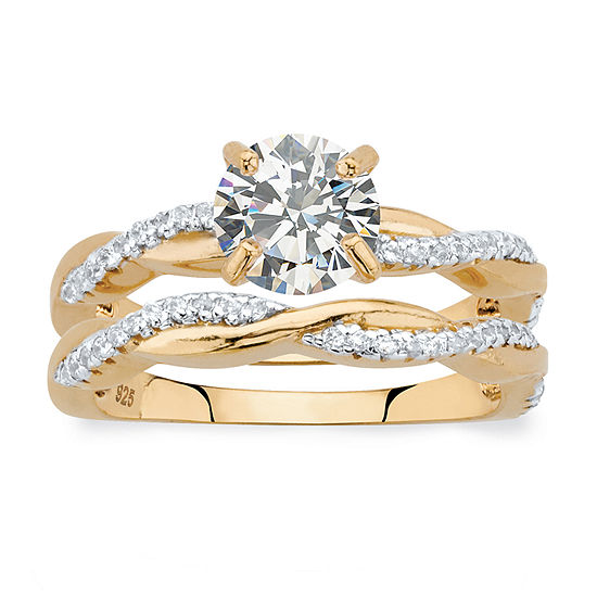 Diamonart Womens 1 3/4 CT. T.W. White Cubic Zirconia 18K Gold Over Silver Round Bridal Set