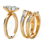 DiamonArt® Womens 3 1/2 CT. T.W White Cubic Zirconia 18K Gold Over Silver Diamond Bridal Set