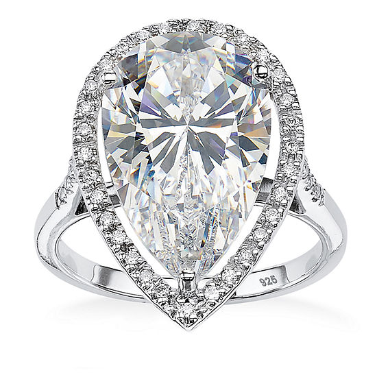 DiamonArt® Womens White Cubic Zirconia Platinum Over Silver Pear Cocktail Ring