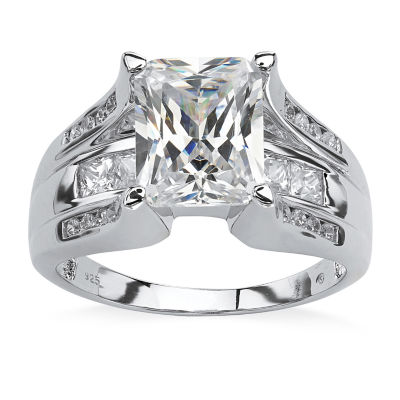 Diamonart Womens 4 3/4 CT. T.W. White Cubic Zirconia Platinum Over Silver Rectangular Engagement Ring