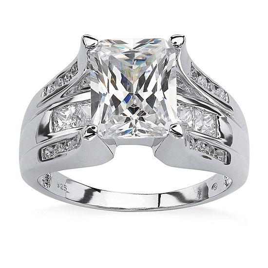 Diamonart Womens 4 3 4 Ct Tw White Cubic Zirconia Platinum Over Silver Rectangular Engagement Ring
