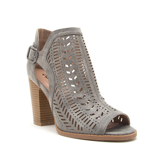 Qupid Womens Cadence 12x Stacked Heel Buckle Booties