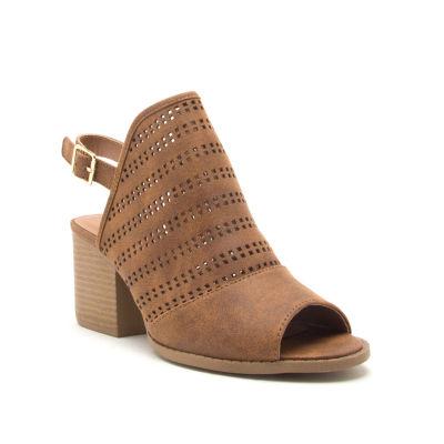 Qupid Womens Core 104 Stacked Heel Buckle Booties