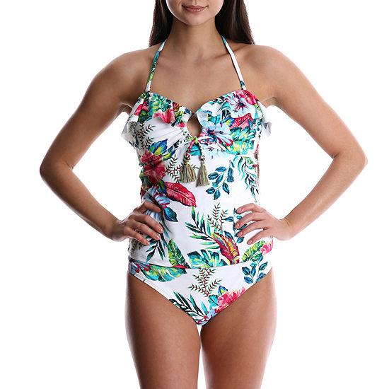 Wallflower Floral Tankini Swimsuit Top-Juniors