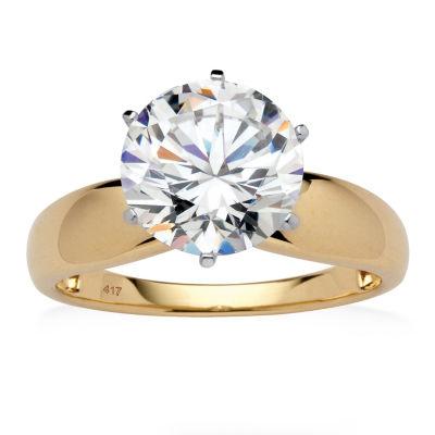 Diamonart Womens 3 1/2 CT. T.W. White Cubic Zirconia 10K Gold Engagement Ring