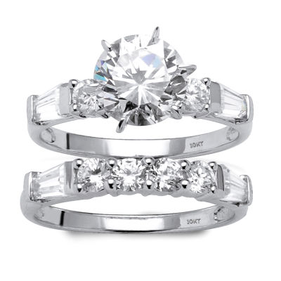Diamonart Womens 3 1/2 CT. T.W White Cubic Zirconia 10K White Gold Bridal Set
