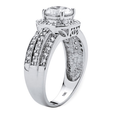 Diamonart Womens 2 1/4 CT. T.W. White Cubic Zirconia 10K White Gold Engagement Ring