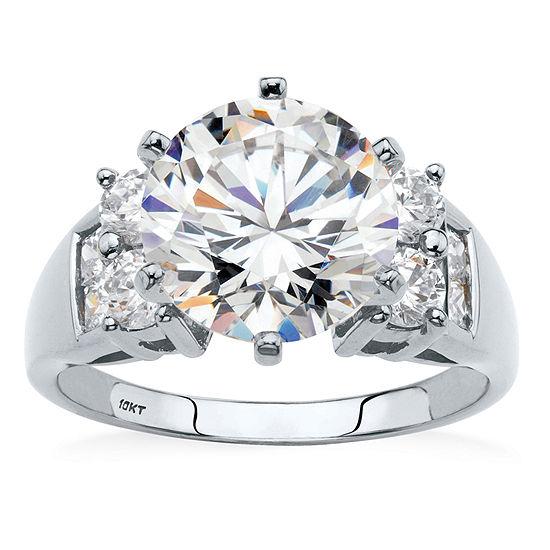Diamonart Womens 4 3/4 CT. T.W. White Cubic Zirconia 10K White Gold Engagement Ring