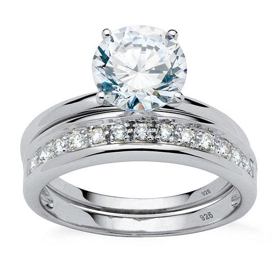 Diamonart Womens 2 1 5 Ct Tw White Cubic Zirconia Platinum Over Silver Round Bridal Set