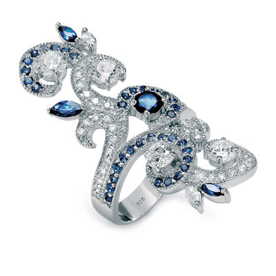 Diamonart Womens 1 3/4 CT. T.W. White Cubic Zirconia Sterling Silver Round Cocktail Ring