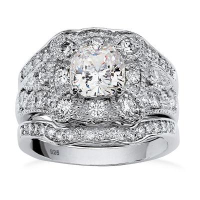 Diamonart Womens 2 1/3 CT. T.W. White Cubic Zirconia Platinum Over Silver Square Bridal Set