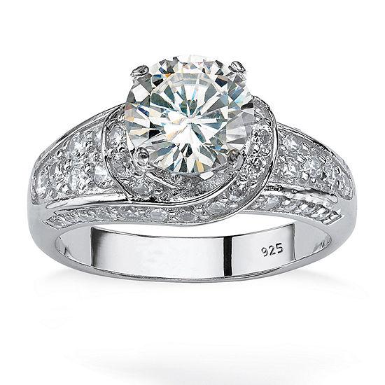 Diamonart Womens 3 1/2 CT. T.W White Cubic Zirconia Platinum Over Silver Round Engagement Ring